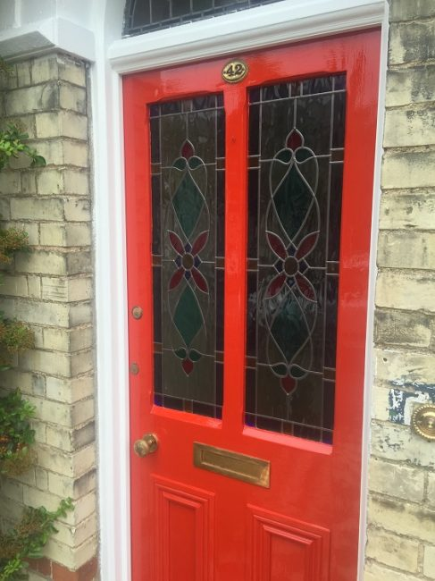 red gloss exterior door